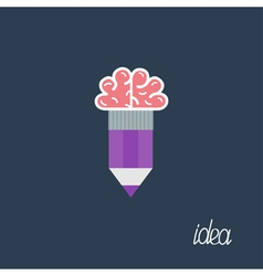 Pencil with brain business idea concept flat desig vector