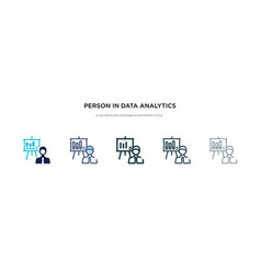 Person in data analytics presentation with a vector