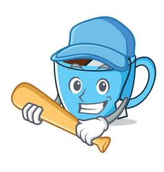 Playing baseball tea cup character cartoon vector