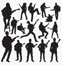 playing guitar silhouettes vector image