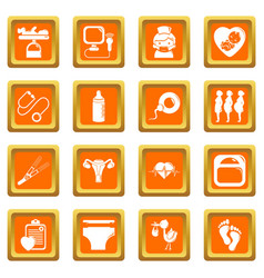 Pregnancy icons set orange square vector