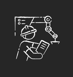 Project engineer chalk white icon on black vector