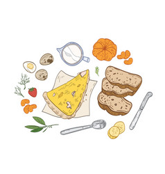 realistic hand drawn composition with tasty vector image