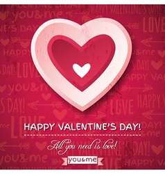 red background with pink valentine heart vector image