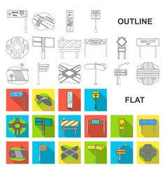 Road junctions and signs flat icons in set vector