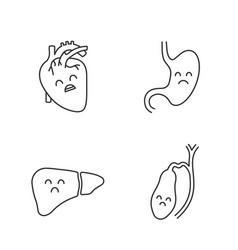 Sad human internal organs linear icons set vector