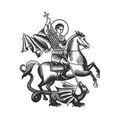 Saint george black and white objects vector