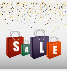 sale poster with shopping bags vector image