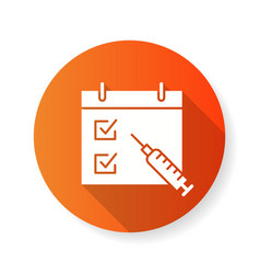 Schedule vaccination icon with long shadow vector