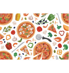 seamless pattern with italian pizza slices vector image