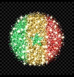 senegal flag sparkling badge vector image