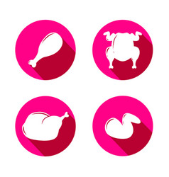 set of pink icons with silhouette of grilled vector image