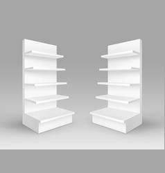 Set of trade stands shop racks with shelves vector