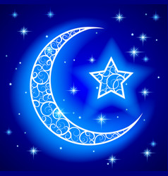 Shining decorative half moon with star on blue vector
