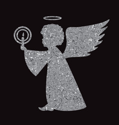 silver angel silhouette on black background vector image