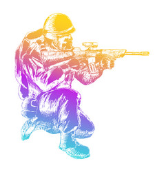 Sketch soldier vector