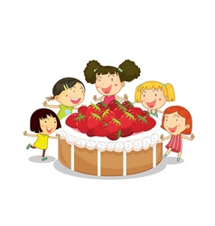 strawberry cake kids vector image