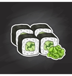 Sushi color sketch Cucumber roll vector