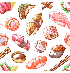 sushi food seamless pattern on white background vector image