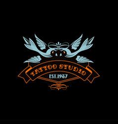 Tattoo studio logo estd 1987 retro styled emblem vector