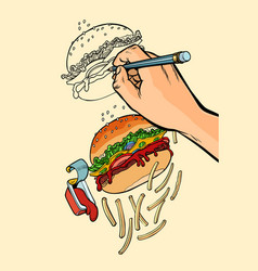 The artist s hand draws a burger french fries and vector