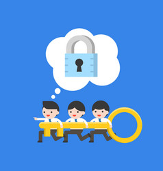 Tiny businessman and team holding key looking for vector