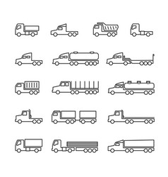 truck line icons delivery trailers cargo trukcs vector image
