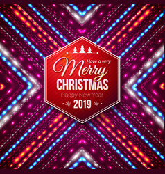 typographic red hexagonal merry christmas and vector image