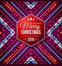 typographic red hexagonal merry christmas vector image