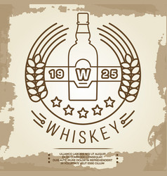 vintage whiskey label design - retro drink poster vector image