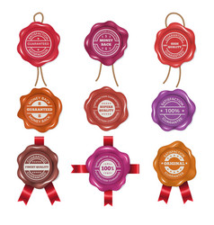 wax stamps with different promo labels vector image