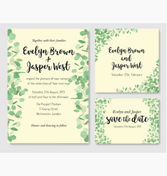 wedding eucalyptus horizontal design banner vector image