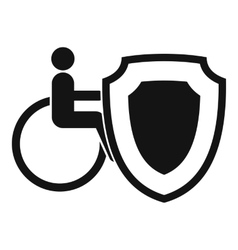 Wheelchair and safety shield icon simple style vector