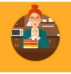 Woman looking at cake with temptation vector