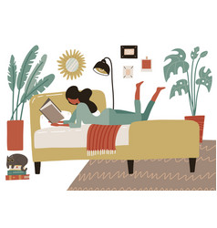 Woman lying on bed in home bedroom and reading a vector