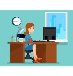 Woman working office at the desk with computer in vector image