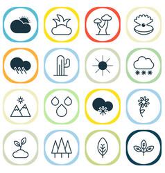 World icons set with snowstorm seashell raindrop vector