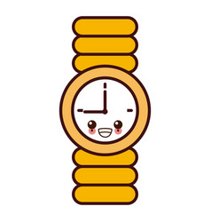 Wristwatch clock isolated kawaii cartoon vector