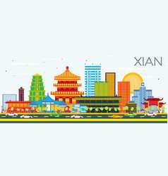 Xian china skyline with color buildings and blue vector