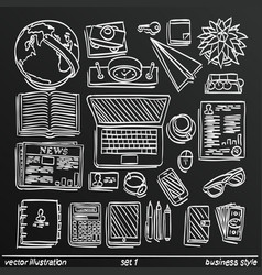 chalkboard sketch work style set icon 2 vector image