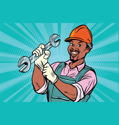 construction worker with wrench vector image vector image