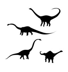 Diplodocus dinosaur silhouettes vector