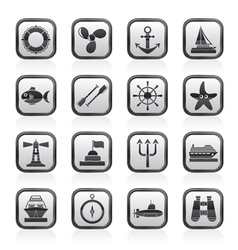 Marine and sea icons vector image