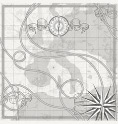antique nautical world map on parchment compass vector image