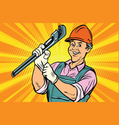 construction worker with adjustable wrench vector image vector image