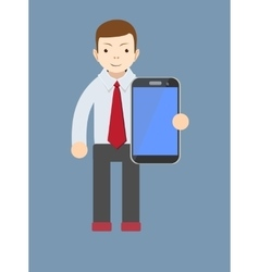 office worker showing a blank smart phone screen vector image