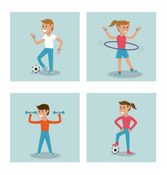 set kids practicing sport physical education vector image