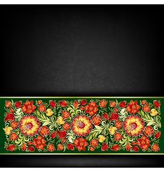abstract grunge black background with red floral vector image vector image