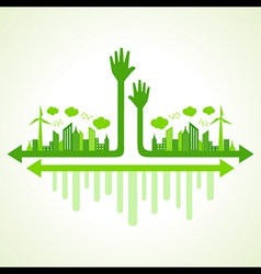 Ecology concept with helping hand vector