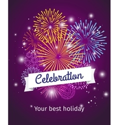 Fireworks celebration poster template vector